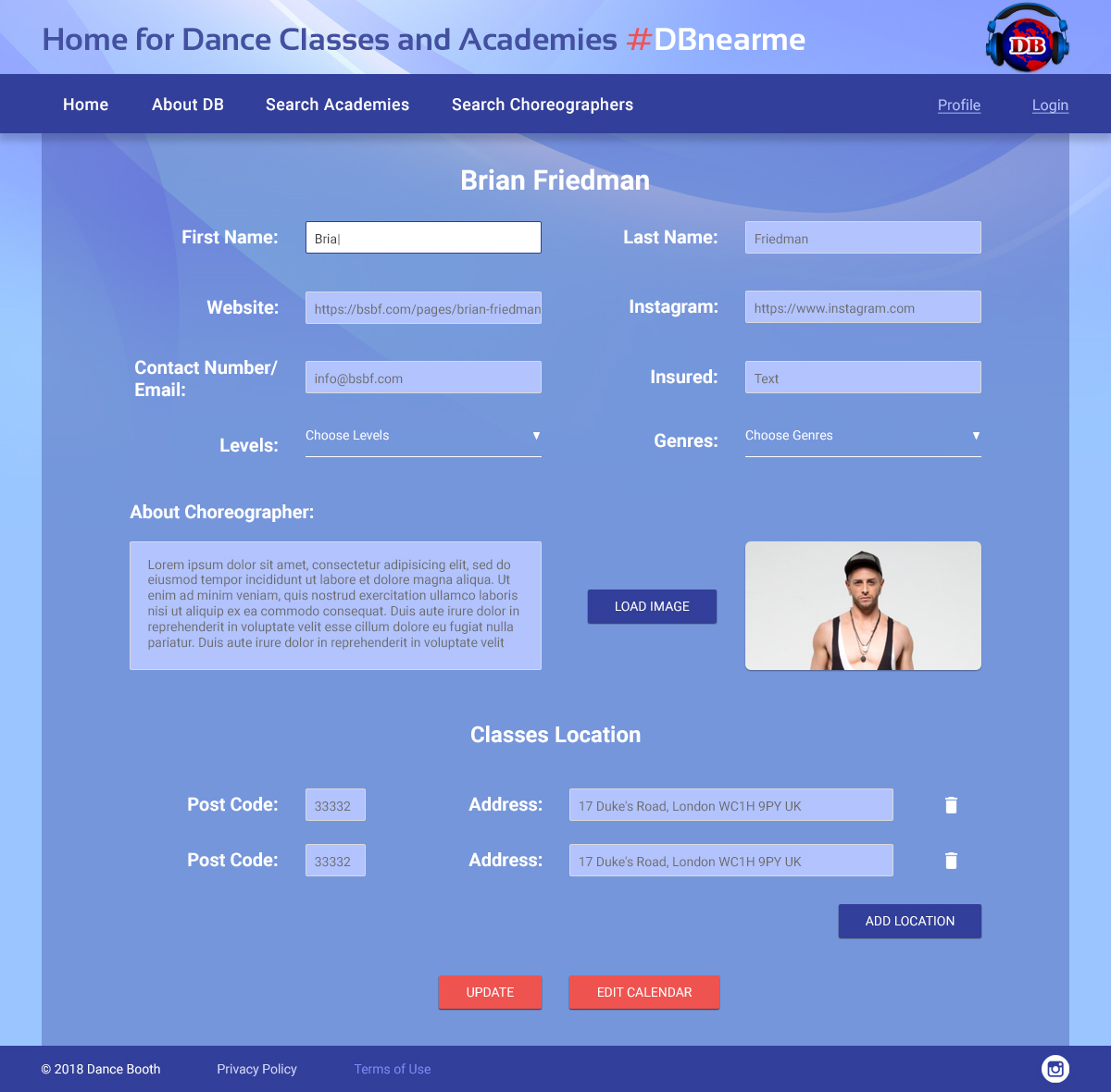 Dance Lessons Web Application